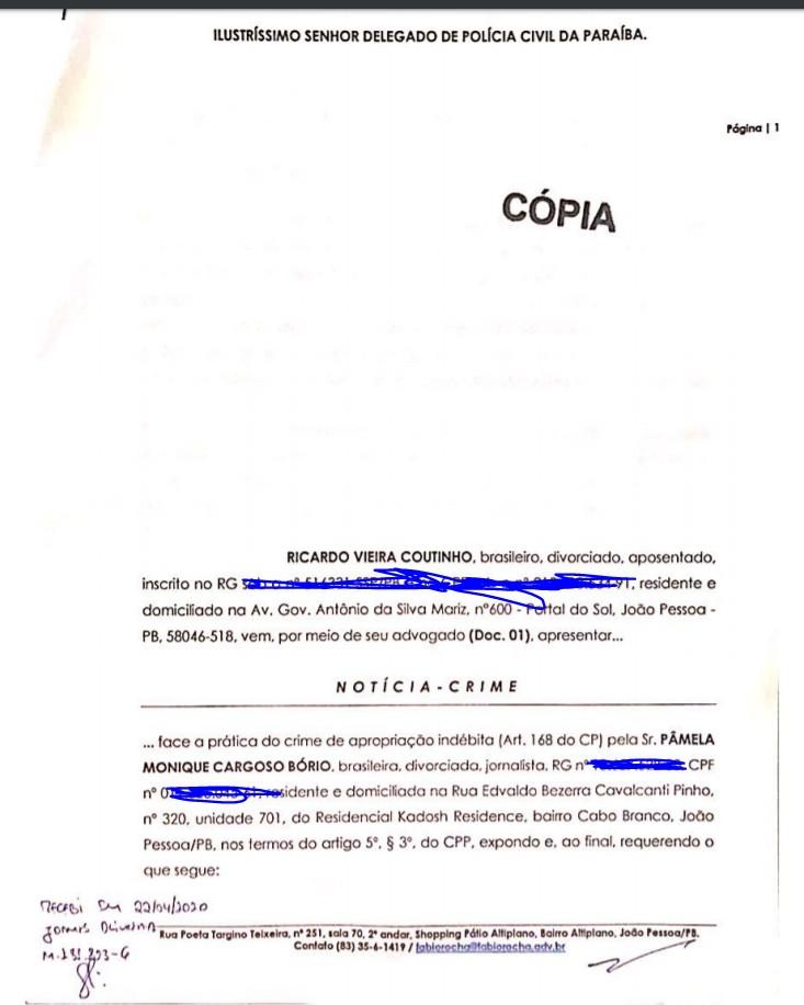Capturar 123 - Crime de apropriação indébita: Ricardo Coutinho deu entrada em Notícia Crime contra Pamêla Bório - VEJA DOCUMENTO