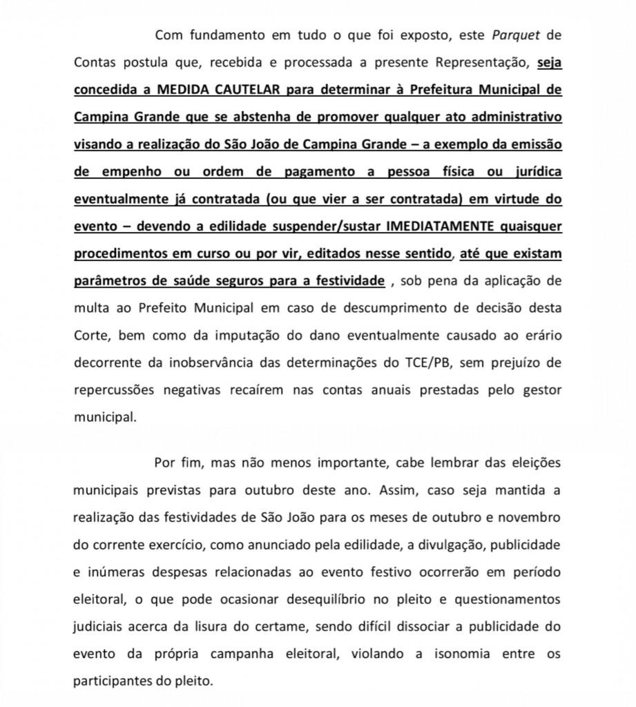 MPC CG - Ministério Público de Contas pede cancelamento do São João de CG e quer dinheiro da festa no combate ao Coronavírus
