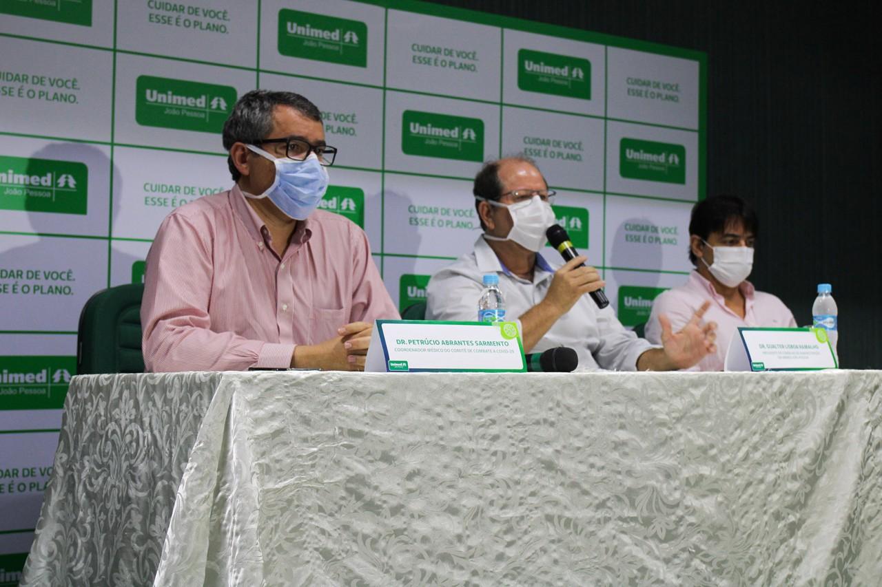 Petrúcio Sarmento Gualter Ramalho e Luis Antônio - Unimed João Pessoa anuncia medidas para atender clientes com Covid-19 - VEJA VÍDEO