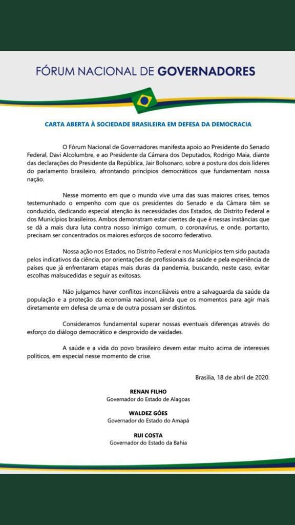 WhatsApp Image 2020 04 19 at 17.52.33 - João Azevêdo assina carta de governadores em apoio a Rodrigo Maia e Davi Alcolumbre; LEIA