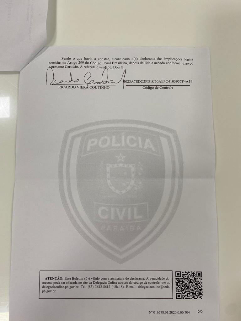 WhatsApp Image 2020 04 25 at 18.10.10 1 - Ricardo Coutinho registra ocorrência contra Pâmela Bório para conseguir retomar guarda do filho - VEJA