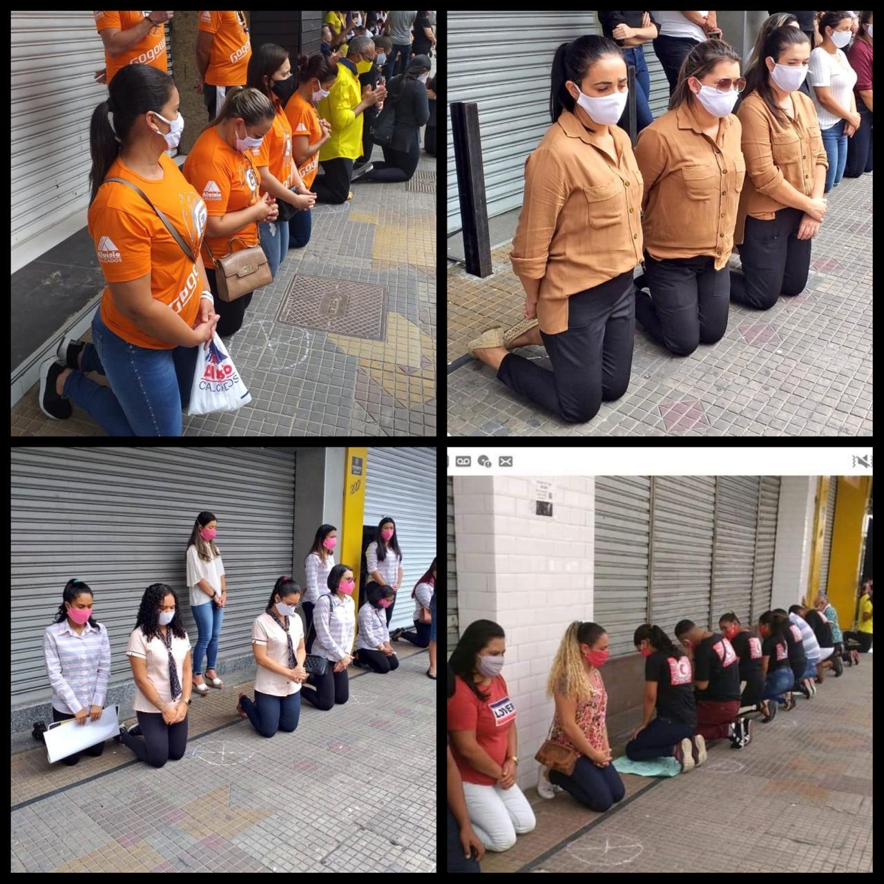 WhatsApp Image 2020 04 28 at 22.15.56 - REPERCUSSÃO: Procuradoria do Trabalho apura protesto em que funcionários foram obrigados a se ajoelhar para pedir volta do comércio, em CG