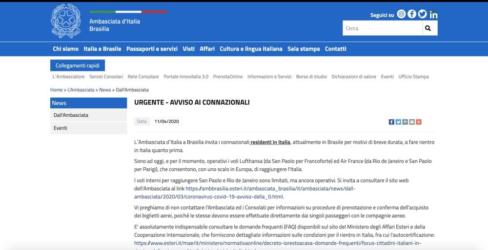 captura de tela 2020 04 11 as 20.21.48 - Embaixada pede que italianos deixem o Brasil 'o mais rápido possível' pelo avanço do coronavírus