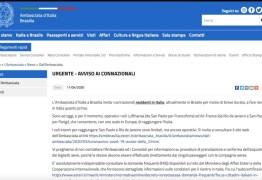 Embaixada pede que italianos deixem o Brasil 'o mais rápido possível' pelo avanço do coronavírus