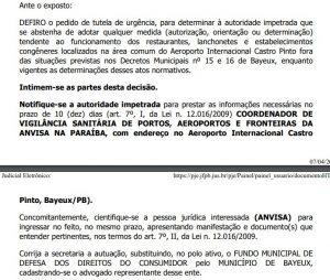 decisão prefeitura 300x254 - Justiça Federal atende pedido do Procon de Bayeux e impede reabertura do comércio no Aeroporto Castro Pinto