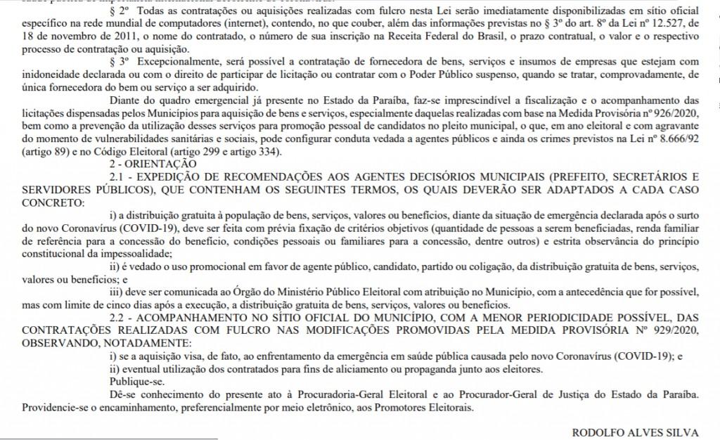 mpf3 1024x626 1 - PRE faz alerta para uso 'eleitoreiro' de medidas de combate ao coronavírus na PB