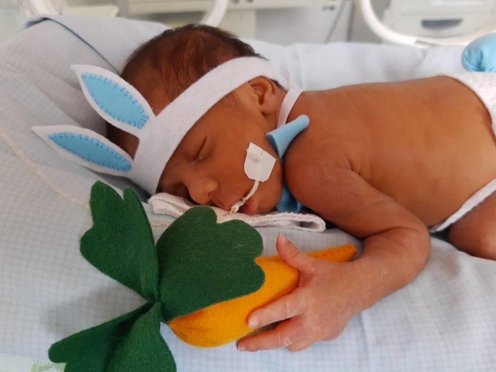 whatsapp image 2020 04 12 at 10.57.44 - HUMANIZAÇÃO DOS PACIENTES: Bebês de UTI Neonatal são fantasiados de 'coelhinhos da Páscoa'