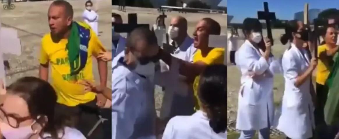 Capturar 8 - Enfermeiros são agredidos por bolsonaristas durante ato por isolamento social - VEJA VÍDEOS