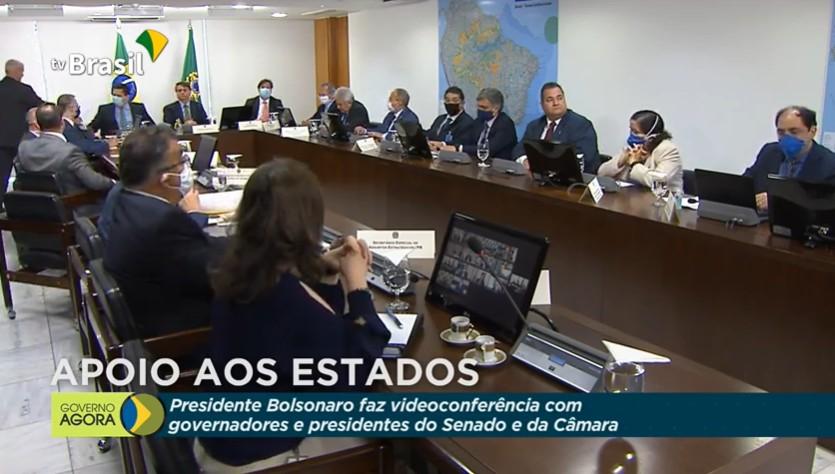 Capturarj 2 - PANDEMIA DO CORONAVÍRUS: Governadores, presidentes do Senado e da Câmara se reúnem com Bolsonaro - VEJA VÍDEO