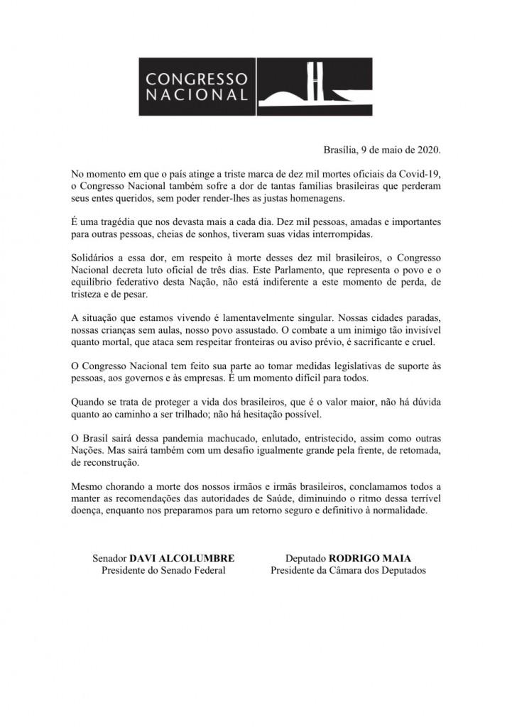 EXlwGJzXsAANSg1 - Congresso Nacional decreta luto oficial por quase 10 mil mortes por covid-19 no Brasil