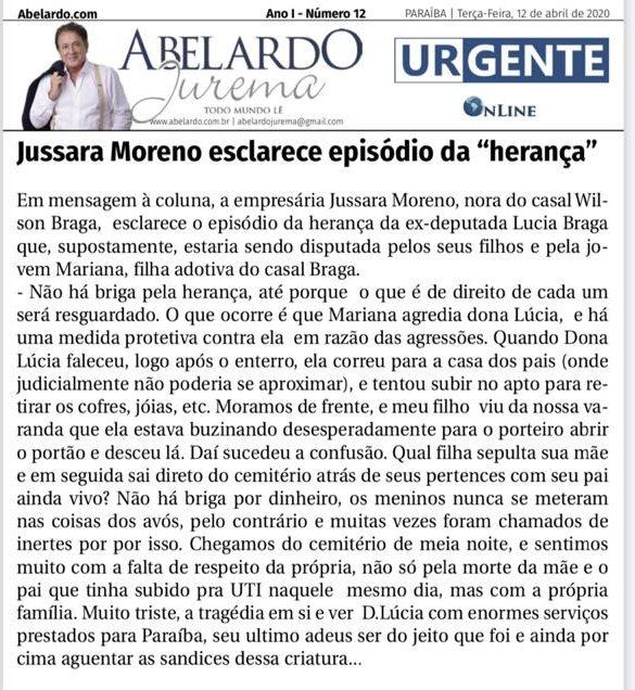 """WhatsApp Image 2020 05 12 at 18.04.07 e1589318438770 - Jussara Moreno esclarece episódio da """"herança"""" de Lúcia Bragae lamenta postura da filha adotiva do casal"""