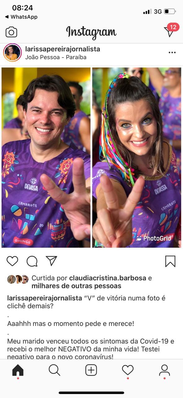 WhatsApp Image 2020 05 17 at 08.26.50 - Larissa Pereira anuncia que marido venceu covid-19 e diz que testou negativo para doença