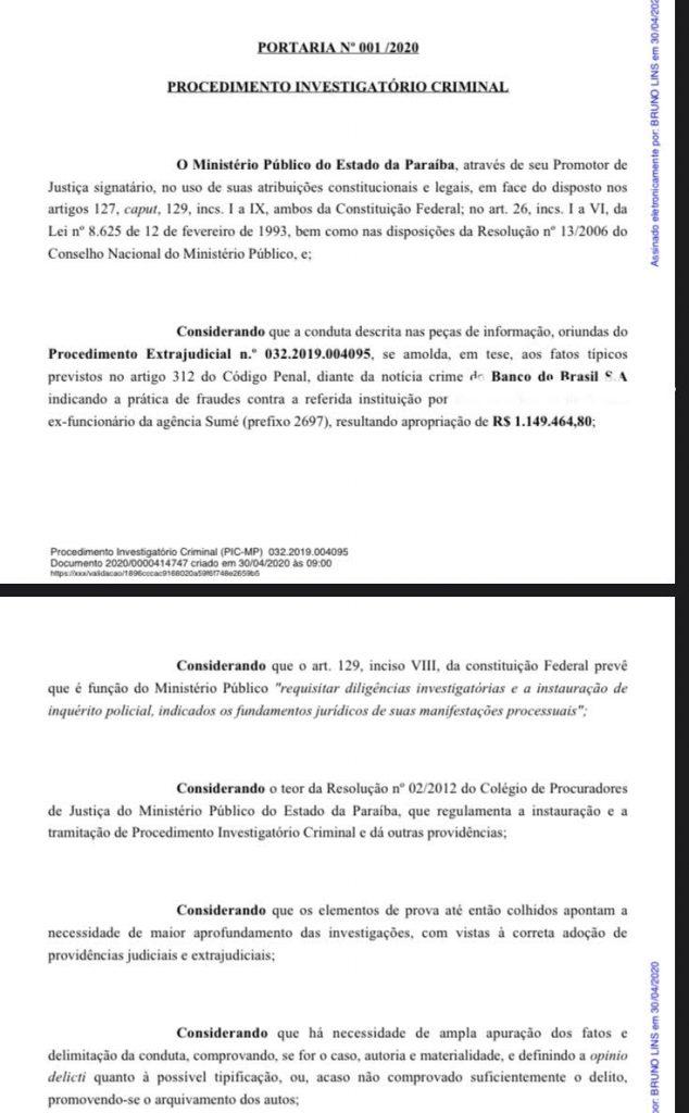 banco bb 634x1024 1 - FRAUDE MILIONÁRIA: Ex-funcionário de banco é investigado pelo MP, na Paraíba