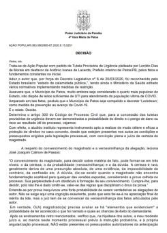 decisao lockdown patos 1 - Justiça nega pedido para que Prefeitura de Patos seja obrigada a decretar lockdown