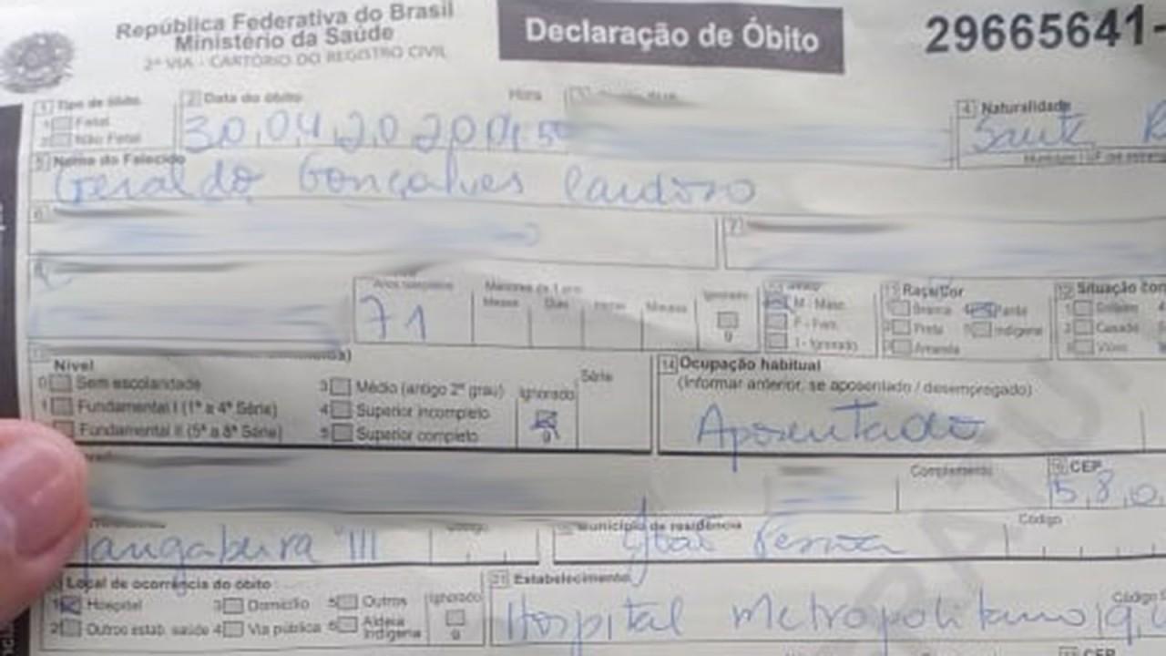 declaracao de obito parte 1 - NA UTI: Idoso dado como morto por Covid-19 está vivo após erro de hospital na PB