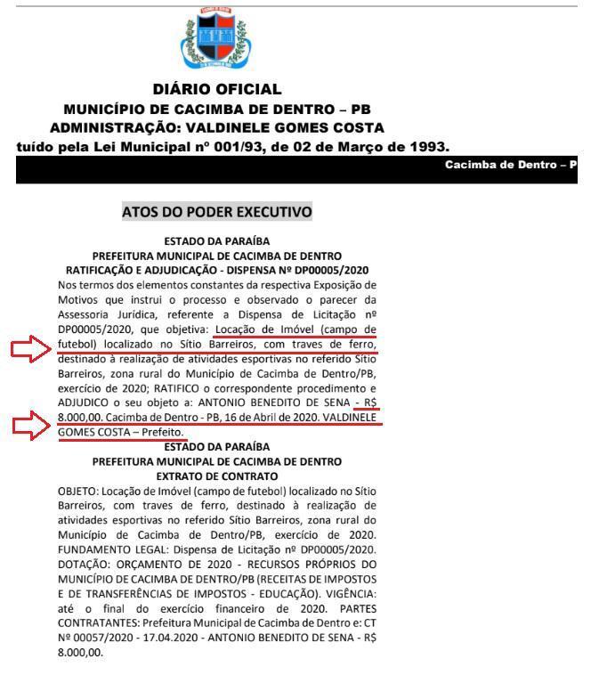 f7046ea0 9cb4 4ea3 8633 840de0c43392 - FORA DA REALIDADE: Prefeito esquece contenção de gastos devido à pandemia e aluga campo de futebol por R$ 8 mil reais