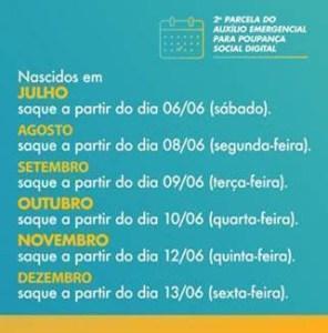 image007 296x300 - Crédito da segunda parcela do auxílio emergencial em poupanças digitais começa nesta quarta-feira 20 - CONFIRA CALENDÁRIO
