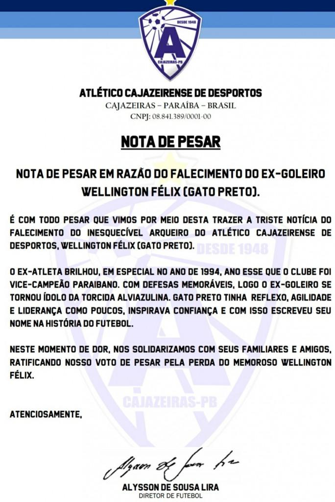 img 20200528 1358546193520065374063977 - Morre Wellington Félix ( Gato Preto) , ex-goleiro do Atlético de Cajazeiras
