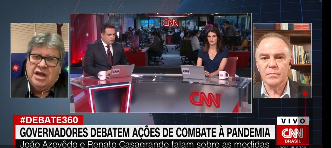 joao psb - CNN BRASIL: João Azevêdo cobra 'discurso unificado' do Governo Federal e volta a defender 'endurecimento' do isolamento social - ASSISTA
