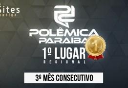PRIMEIRO LUGAR: Polêmica Paraíba é o site paraibano de jornalismo mais acessado pelo terceiro mês seguido