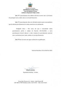 71850 texto integral 1 page 0002 212x300 - ALPB aprova PL de Felipe Leitão que prevê parcelamento de débitos de água, esgoto e energia durante pandemia