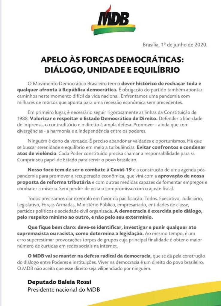 EZc1EYMWsAE6Zoy 738x1024 - Em nota, MDB Nacional pede unidade e equilíbrio em defesa da democracia no Brasil