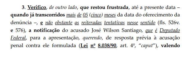 PRINT2 - CERCO SE FECHA NA PÉS DE BARRO: STF instaura novo inquérito para investigar Wilson Santiago por lavagem de dinheiro, fraude a licitação e peculato; LEIA