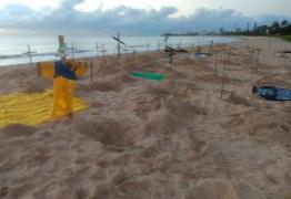 Cruzes são colocadas em praia de JP em homenagem às vítimas do coronavírus e contra Bolsonaro
