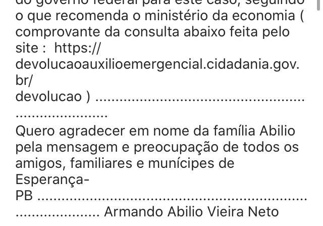 WhatsApp Image 2020 06 15 at 22.17.59 1 - Neto de Armando Abilio diz que teve nome usado para solicitar auxílio emergencial e destaca que a quantia já foi devolvida