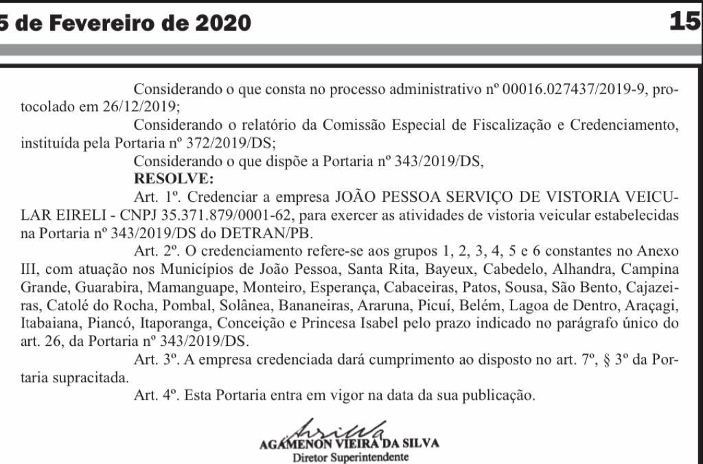 WhatsApp Image 2020 06 29 at 18.20.00 - Detran-PB credencia empresa de taquigrafia e estenografia para fazer vistoria veicular - ENTENDA