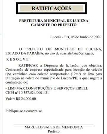 lixo lucena - Após 7 anos coletando lixo em veículo aberto, prefeito de Lucena aluga caminhão sem licitação e no valor de R$ 24 mil