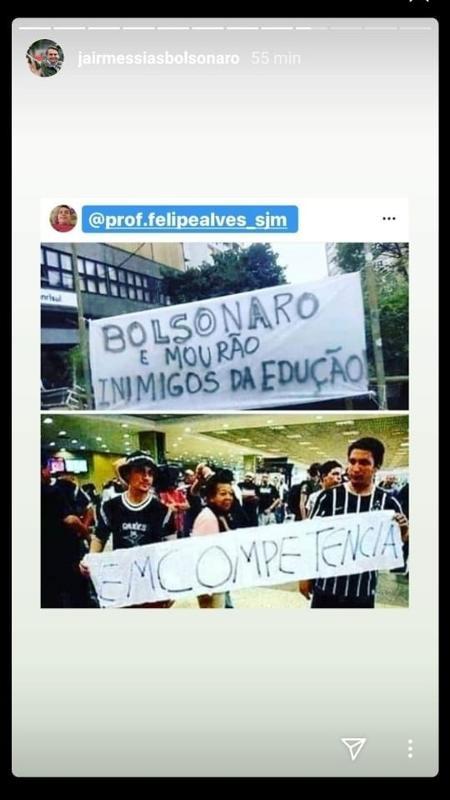 print dos stories de bolsonaro mostra repostagem de meme 1591387042140 v2 450x800 - Bolsonaro publica meme ridicularizando corintiano morto e revolta família