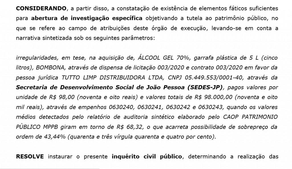 sobrepreço joao pessoa print 1024x595 1 - ÁLCOOL EM GEL DE OURO: Prefeitura de João Pessoa comprou garrafão de 5 litros 30 reais mais caro