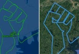 Piloto desenha punho cerrado no céu em homenagem a George Floyd – VEJA VÍDEO