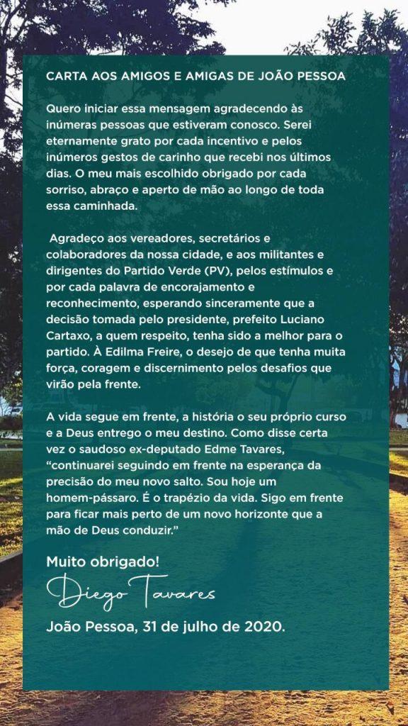 ndicedff 576x1024 - 'CARTA ABERTA AOS AMIGOS DE JP': Diego Tavares fala sobre escolha de Cartaxo e afirma que continuará seguindo em frente