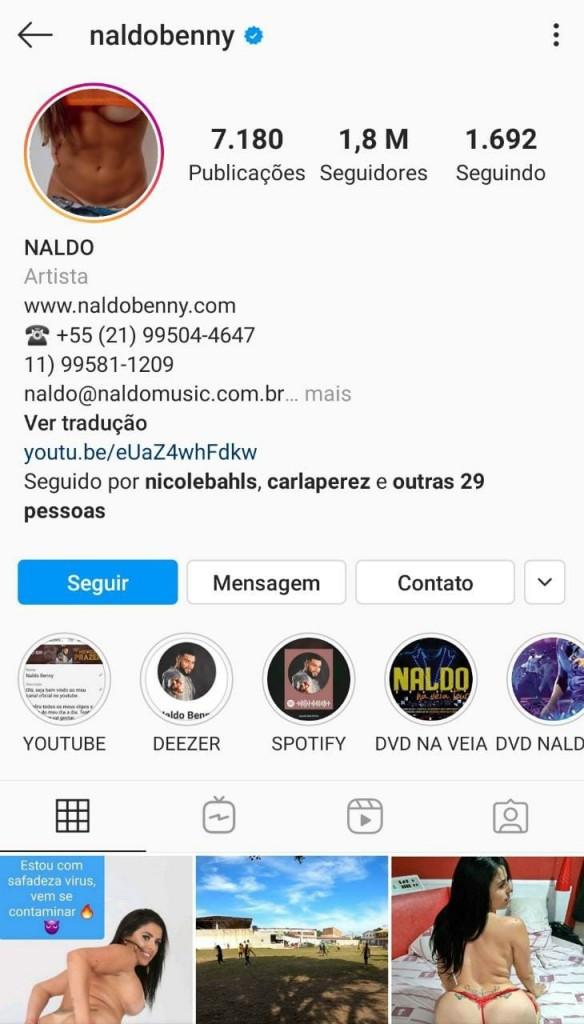 552bf769 a908 401d 9cd9 933ba2a4b8d7 - Instagram do cantor Naldo Benny é hackeado e invasor publica fotos eróticas