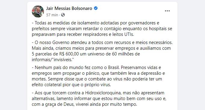 8774 6F3253FE7C65B061 - Bolsonaro reconhece ação de governadores para frear contágio da Covid-19