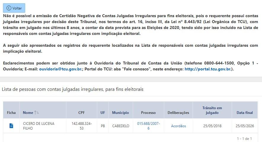CÍCERO LUCENA CERTIDÃO NEGADA - 'SEM EFEITO SUSPENSIVO': TCU não decidiu sobre recurso e Cícero continua em lista de 'contas irregulares com implicância eleitoral'; LEIA NOTA