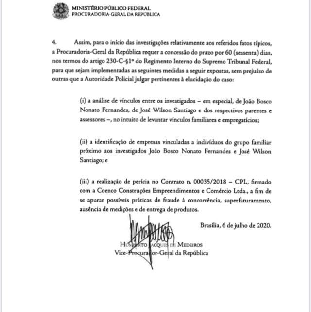 dc7eacd8 ebb5 4f3c 897a 218f85ac788a - DESDOBRAMENTO DA PÉS DE BARRO: PGR solicita novas medidas para investigar vínculos entre Wilson Santiago e Bosco Fernandes; VEJA DOCUMENTO