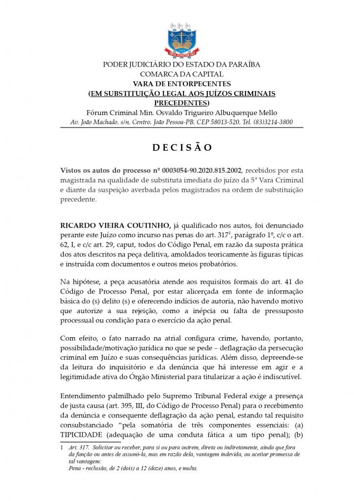 decisao recebimento de denuncia page 0001 - Juiza recebe denúncia contra o ex-governador da Paraíba Ricardo Coutinho - LEIA O DOCUMENTO