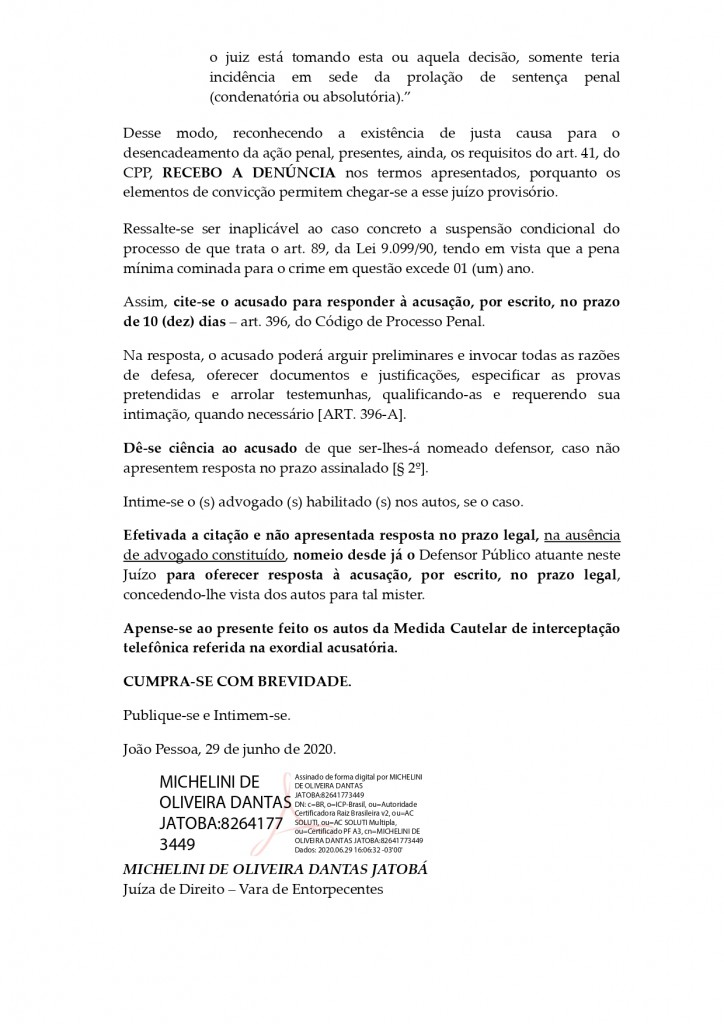 decisao recebimento de denuncia page 0003 - Juiza recebe denúncia contra o ex-governador da Paraíba Ricardo Coutinho - LEIA O DOCUMENTO