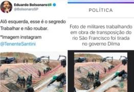 Eduardo Bolsonaro usa foto de obra no governo Dilma para elogiar gestão do pai