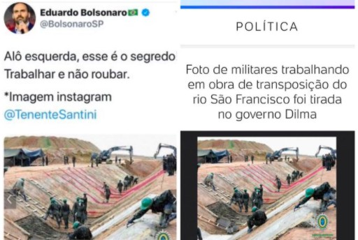 eduardo fake - Eduardo Bolsonaro usa foto de obra no governo Dilma para elogiar gestão do pai