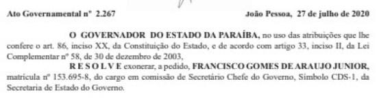 exoneracao - Governador da Paraíba exonera Júnior Araújo do cargo de Secretário Chefe do Governo