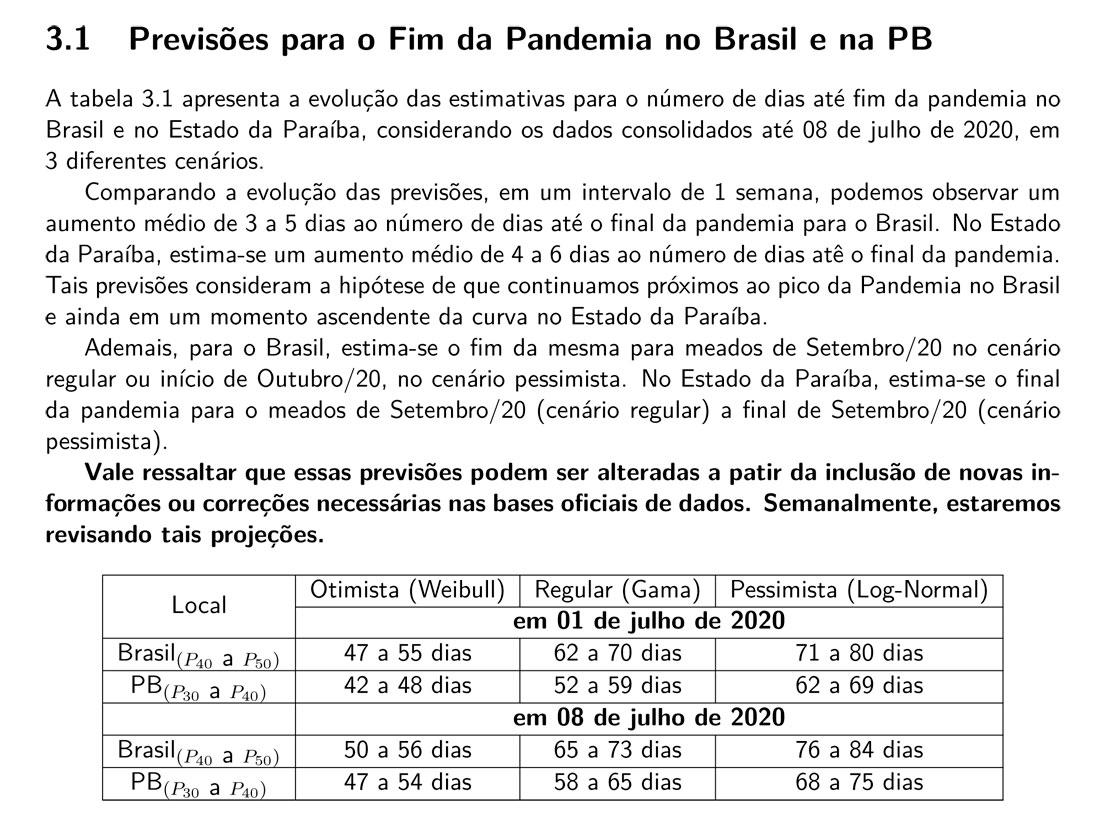 fimdapandemia - Relatório da UFPB estima que pandemia deve acabar no fim de setembro na Paraíba