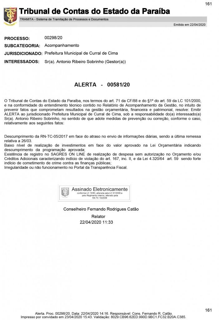 proc 00298 20 alerta 1 - Prefeito de Curral de Cima é alvo de denúncia por empregar esposa, filha e irmãos como secretários da gestão
