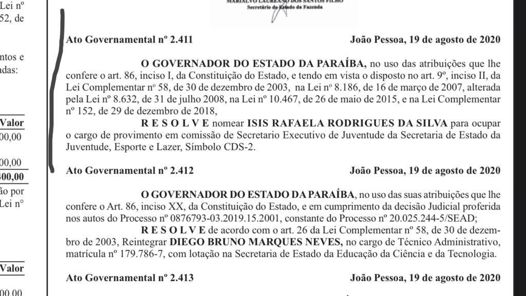 WhatsApp Image 2020 08 20 at 08.45.05 - DIÁRIO OFICIAL: João Azevêdo nomeia suplente de deputada como secretária executiva de Juventude da Paraíba