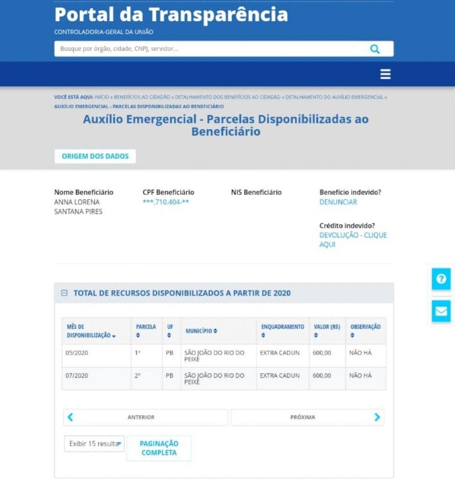 auxilio - Filha de prefeito paraibano é mais uma a receber indevidamente o Auxílio Emergencial; confira