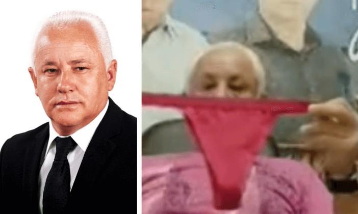 Vereador de Bragança Paulista segura calcinha e cheira durante sessão - Câmara adverte vereador que cheirou calcinha e frustra pedidos de cassação