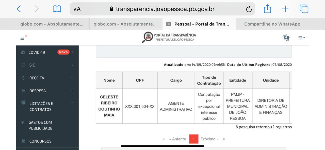 WhatsApp Image 2020 09 14 at 19.33.04 1 - Blogueira paraibana detida após dirigir embriagada e atropelar ciclistas é funcionária da prefeitura de João Pessoa - VEJA